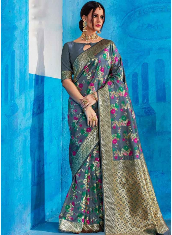 Teal Gold Weaving Print Heavy Handloom Silk Designer Party Wear Saree